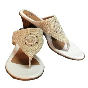Sofft Ristna 10 Leather Beaded Thong Sandals White